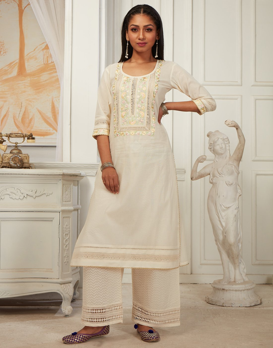 Cream Cotton Chanderi Kurti with Palazzo