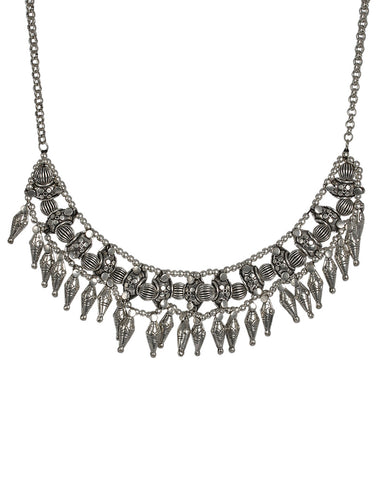 Tradtional Oxidised Silver Necklace By Meena Bazaar