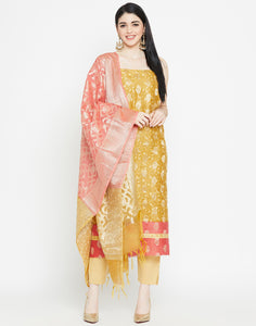 Mustard Coral Cotton Chanderi Suit Set