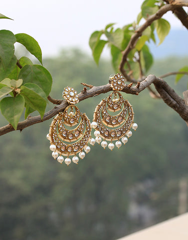 Kundan Embedded Long Chandbali Earrings