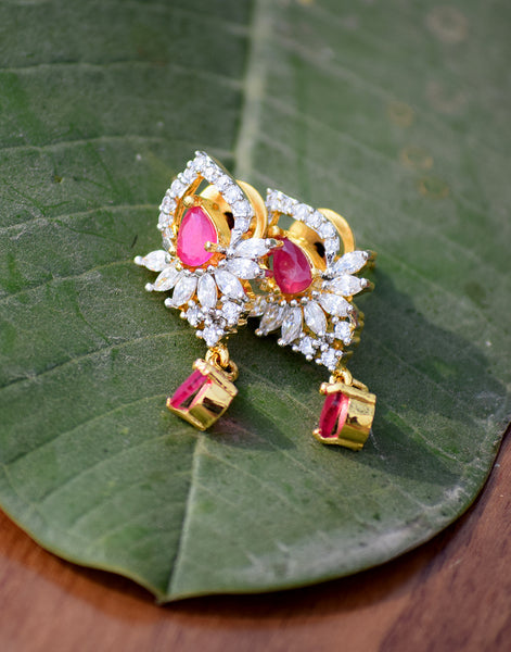 Meena Bazaar: Gemstone neck-piece set with pink stone