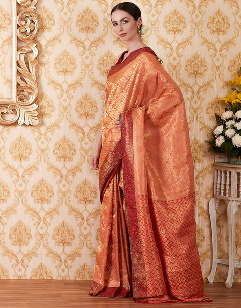 Red Banarasi Silk Embroidered Woven Saree