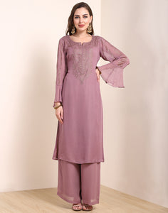 Onion Pink Georgette Kurti with Palazzo