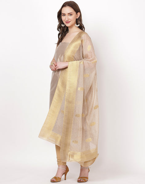 Beige Art Handloom Suit Set