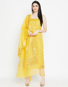 Yellow Cotton Chanderi Suit Set