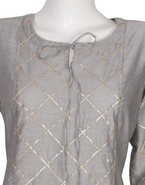 Grey Cotton Chanderi Kurta with Palazzo