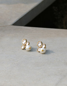 Meena Bazaar: Faux diamond Embedded Pearl Drop Earrings