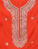 Unstitched Cotton Chanderi suit With Mirror Work Embroidery On Yoke By Meena Bazaar