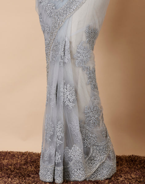 Grey Embroidered Net Saree