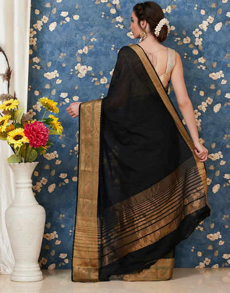 Black Art Handloom Woven Saree