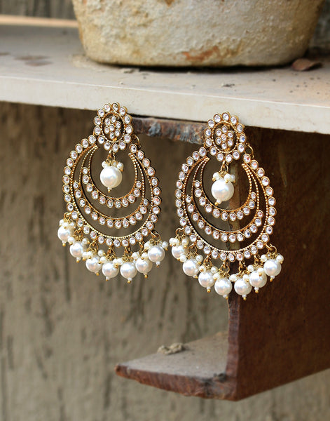 Chandbalis Encrusted with Zircon Stones And Pearls