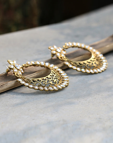 Stone Embedded Chandbali Earrings With Cut-work Detailing