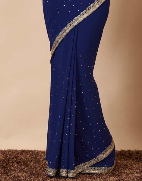 Navy Blue Art Georgette Embroidered Saree with Ready made Blouse