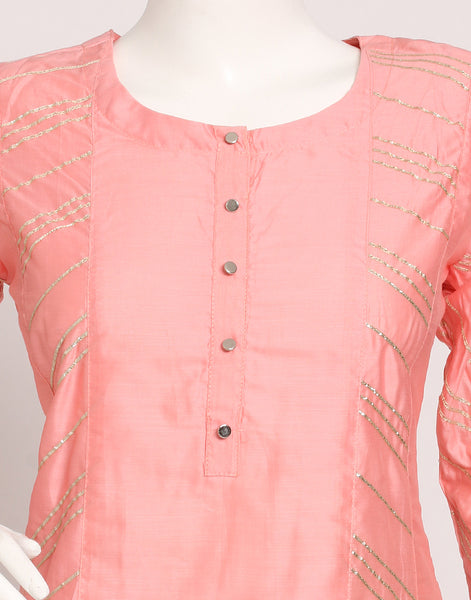 Peach Pink Cotton Kurti with Palazzo