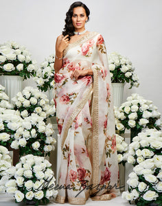Cream Pink Banarasi Embroidered Saree