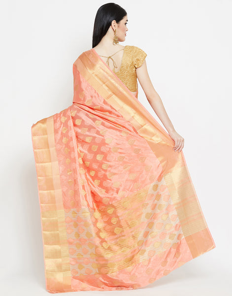 Peach Art Handloom Woven Saree