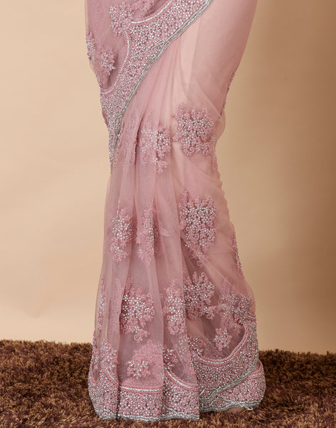 Pink Embroidered Net Saree