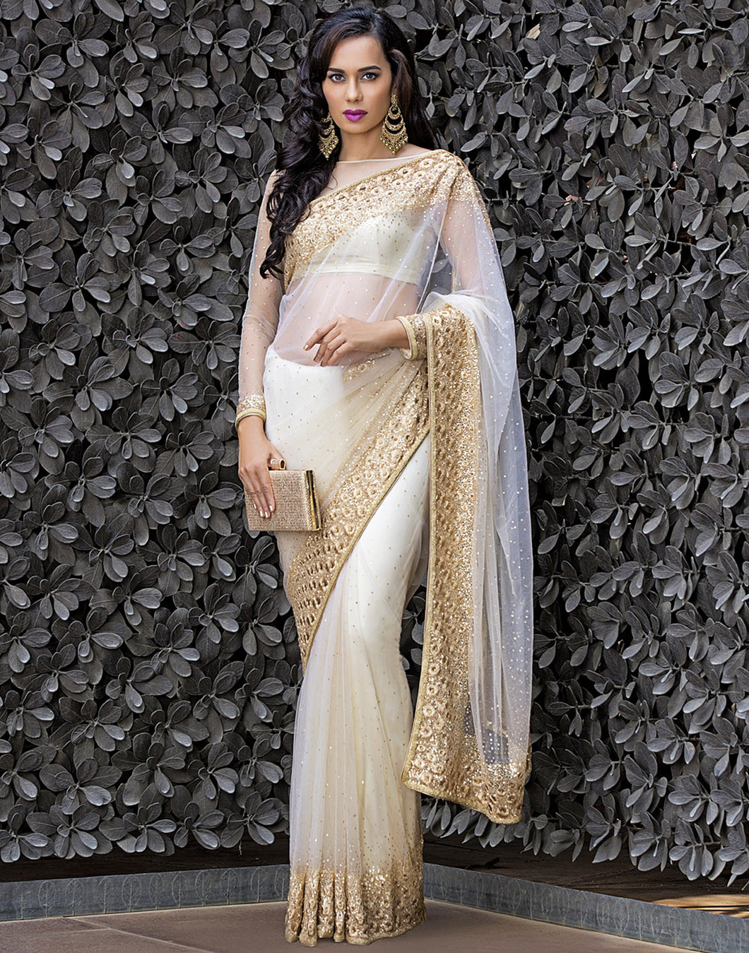 Floral Handcrafted and Embellished Net Saree By Meena Bazaar