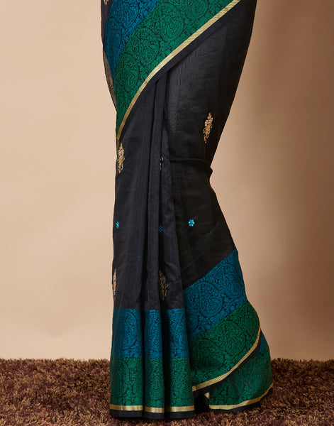 Black Cotton Woven Embroidered Saree