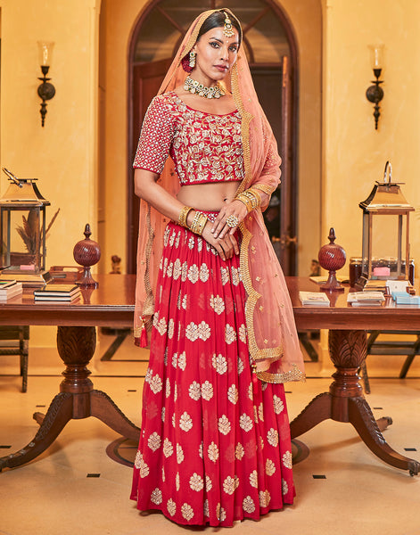 Red Georgette Lehenga