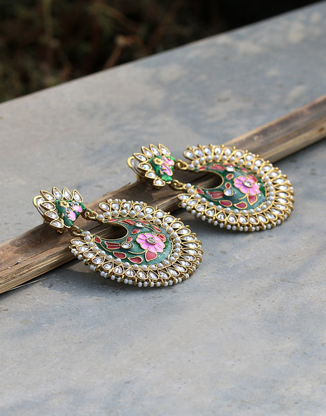 Stone and Pearl Embedded Floral Enamel Chandbali Earrings