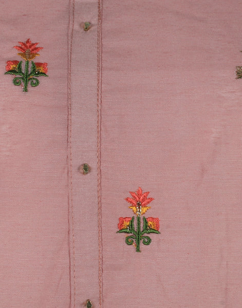Dusty Pink Cotton Chanderi Suit Set