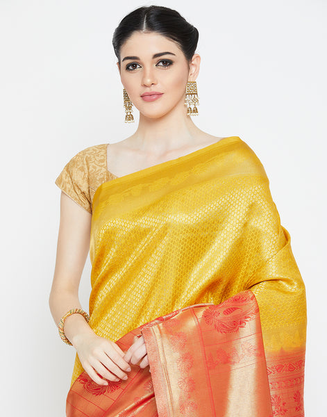 Mustard & Red Woven Art Handloom Saree