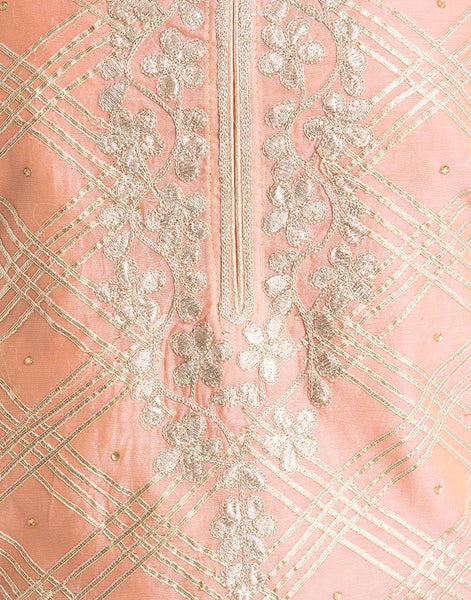 Unstitched Cotton Chanderi With Gotta Embroidery By Meena Bazaar