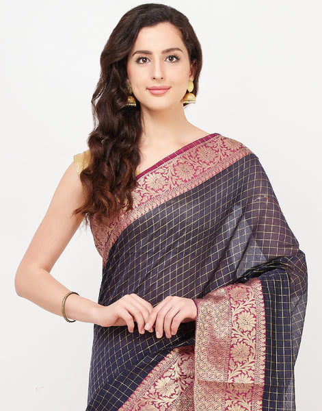 Blue Cotton Woven Saree