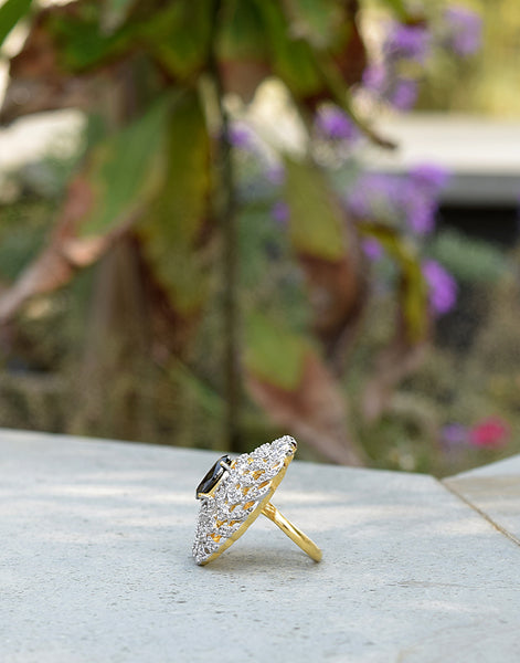 Onyx Stone Embedded Diamond Ring In Gold Finish