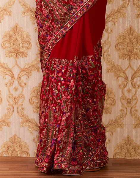 Maroon Art Georgette Embroidered Saree