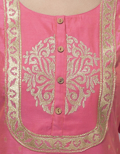 Cotton Chanderi Suit With Zari Embroidery By Meena Bazaar
