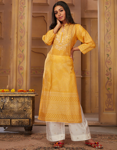 Yellow Cotton Kurti