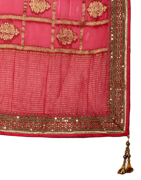 Pink Art Georgette Embroidered Saree