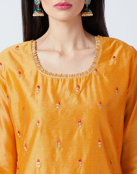 Mustard Cotton Chanderi Salwar Kameez