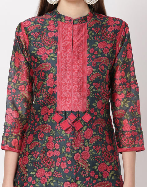 Grey Pink Cotton Chanderi Kurti with Palazzo
