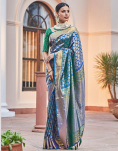 Blue Green Kanjivaram Saree