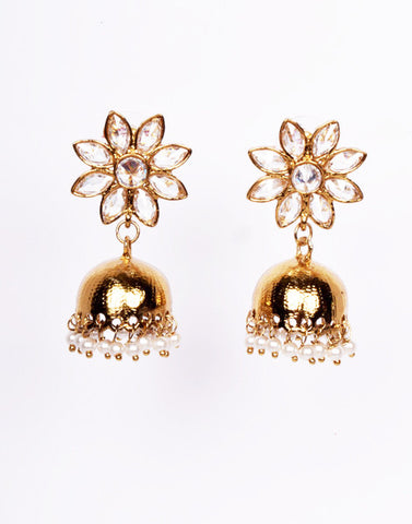 Gold finish Polki Jhumkis