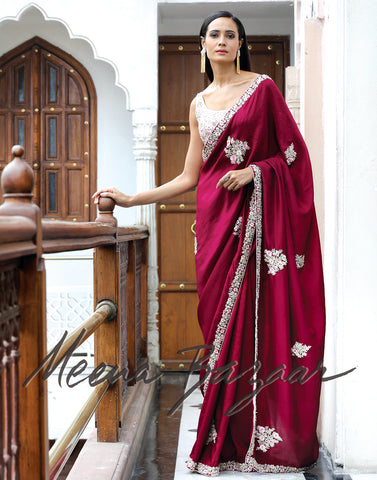 Wine colour embroidered saree on silk fabric