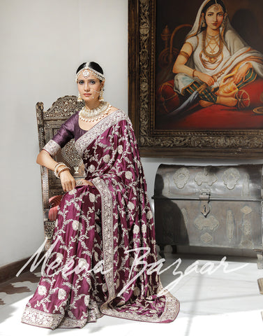 Meena bazaar: Satin saree with golden embroidery