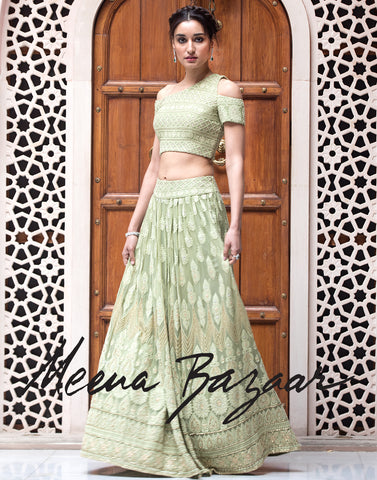 Pista green colour embroidered laacha with cold shoulder blouse