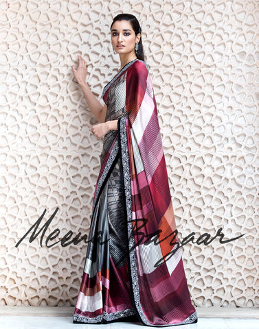 Satin saree with sequin border.