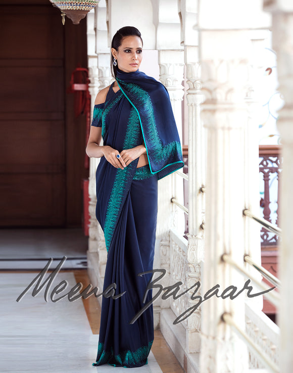 Meena Bazaar: Satin saree with embroidery