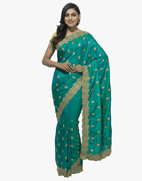 Dupion Silk Saree With All-over Zari Embroidered Booti By Meena Bazaar