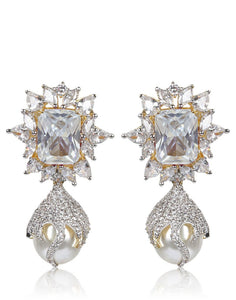 Meena Bazaar: American Diamond and Stone Drop Earrings