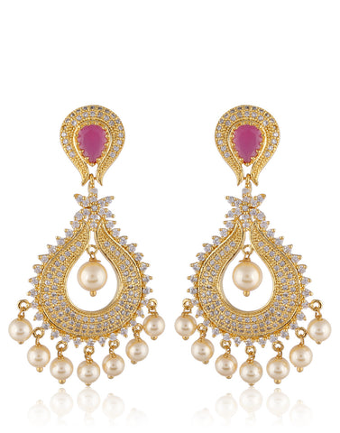 Gold Finish American Diamonds, Colored Stone and Pearl Chandbali Earrings By Meena Bazaar
