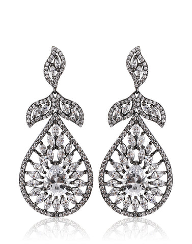 Meena bazaar: Faux diamond studded silver earrings.
