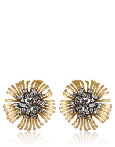 Gold Finish Flower Earrings Studed With American Colored Stones & Diamonds By Meena Bazaar