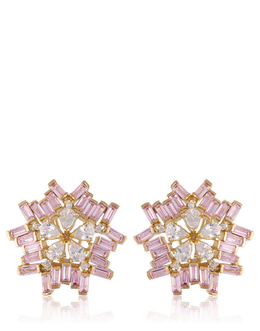 Geometrical Flower Statement Earrings Studded With American Colored Stones & Diamonds By Meena Bazaar