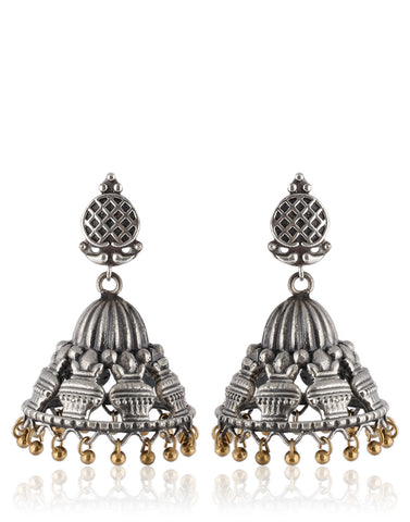Traditional Jhumkas In Oxidised Silver By Meena Bazaar